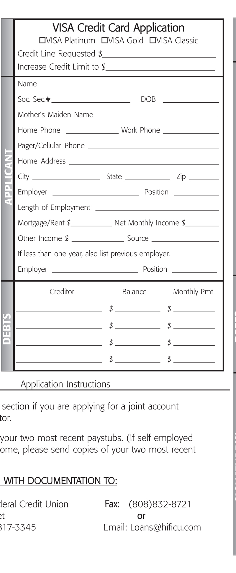 VISA Application Brochure Page 4